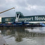 """Cashman Equipment Barges supported demolition of the """"Green Crane"""" at Newport News Shipyard"""
